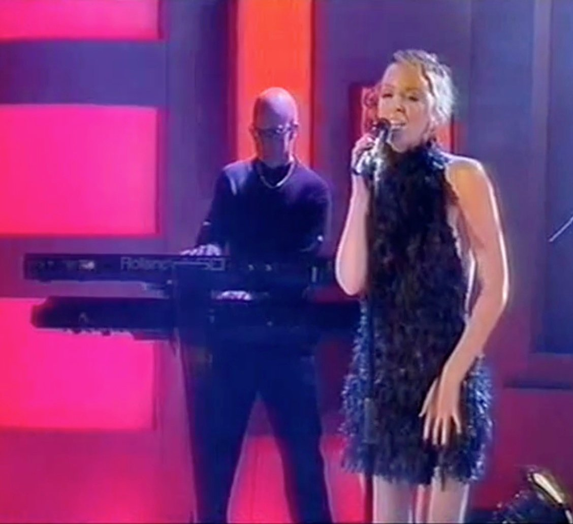 Steve Turner, keyboard player, with Kylie on Jonathan Ross show