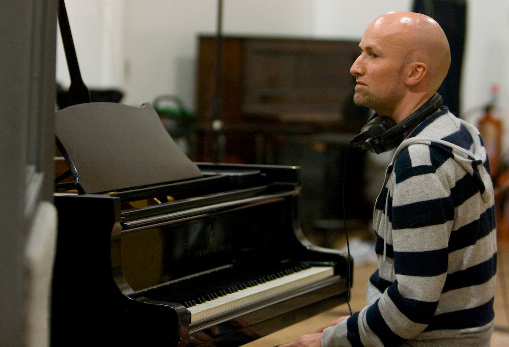 Steve Turner, keyboard player, at the studio 2 piano , Abbey Road